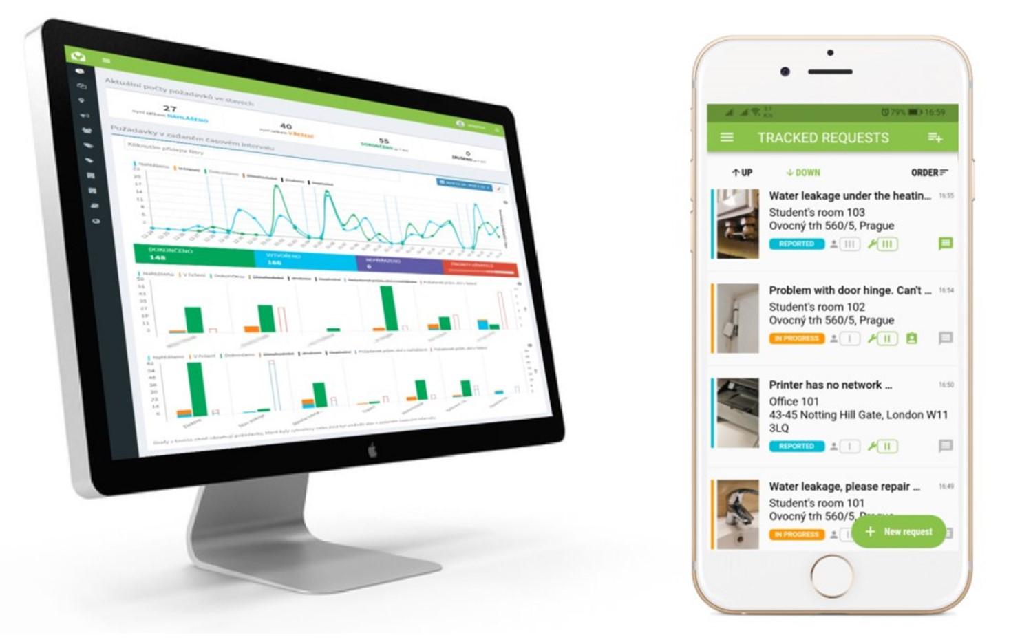 Ukázkové obrazovky aplikace na telefonu a PC